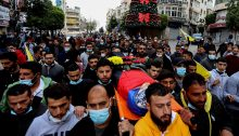 The funeral of Ali Abu Alia in the city of Ramallah, Saturday morning, December 5, 2020