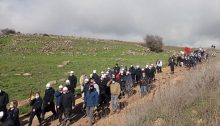 Syrian Druze marched in protest against the building of wind turbines on their agricultural lands in the occupied Golan Heights by an Israeli energy company, Wednesday, December 9, 2020.
