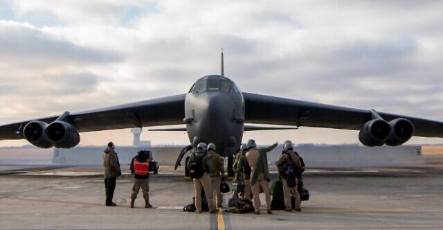 A B-52 heavy bomber prepares for takeoff before flying to the Middle East from Minot Air Base in North Dakota, November 21, 2020.