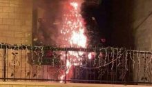 One of the two torched Christmas trees placed outside churches in Sakhnin, December 26, 2020