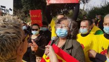 MK Aida Touma-Sliman, last week, during a demonstration of restaurant owners and workers near the Knesset in Jerusalem