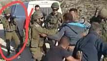 This is a frame from the video clip (length, 2:20) of the incident during which Haroun Abu Aram was critically shot at close range by an Israel soldier, circled in red. The tape shows what initially looked like a rift between soldiers and Palestinians over a generator. None of the Palestinians was armed. Then, at 1:54 into the tape, a gunshot is heard, the camera is jostled and points to the ground before returning to the scene, where Abu Aram can now be seeing lying on the ground critically wounded, Friday, January 1, 2021.