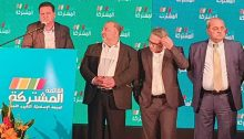 The four party leaders of the Joint List during an electoral rally in Nazareth in 2019; from left to right they are: Joint List chairman MK Ayman Odeh (Hadash), MK Mansour Abbas (United Arab List), the outgoing chair of Balad, MK Mtanes Shehadeh and MK Ahmad Tibi (Ta'al).