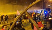 Police fire water cannon against protestors they say tried to break through checkpoint in Jerusalem, January 30, 2021.