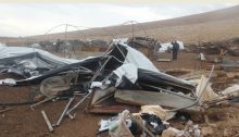 Remains of Khirbet Hamsa al-Fawqa in the northern Jordan Valley following Israel's demolition of the hamlet on Wednesday, February 3, 2021
