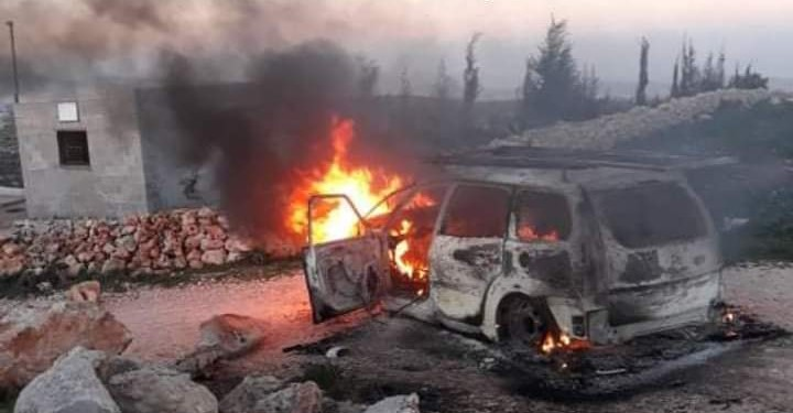 A Palestinian vehicle goes up in flames after being torched during an attack by violent Israeli settlers in the village of Kusra last Saturday, February 13, 2021.