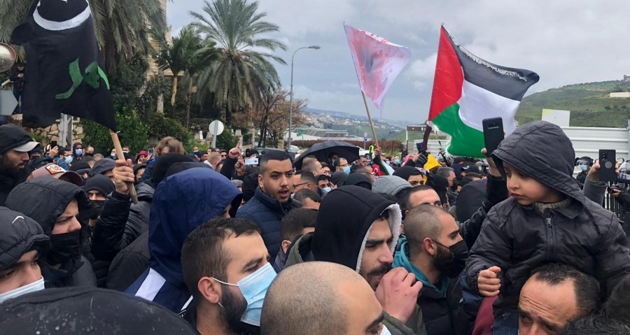 Hundreds marched to the police station in the city of Umm al-Fahm, Friday, February 19, to protest police and government inaction in the fight against organized crime in the Arab community.