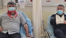 Umm al-Fahm Mayor Dr. Samir Mahamid, left, and Joint List MK Youssef Jabareen (Hadash) were among the dozens of demonstrators who received medical treatment in hospital after being injured by police during protests in Umm al-Fahm, Friday, February 26, 2021.