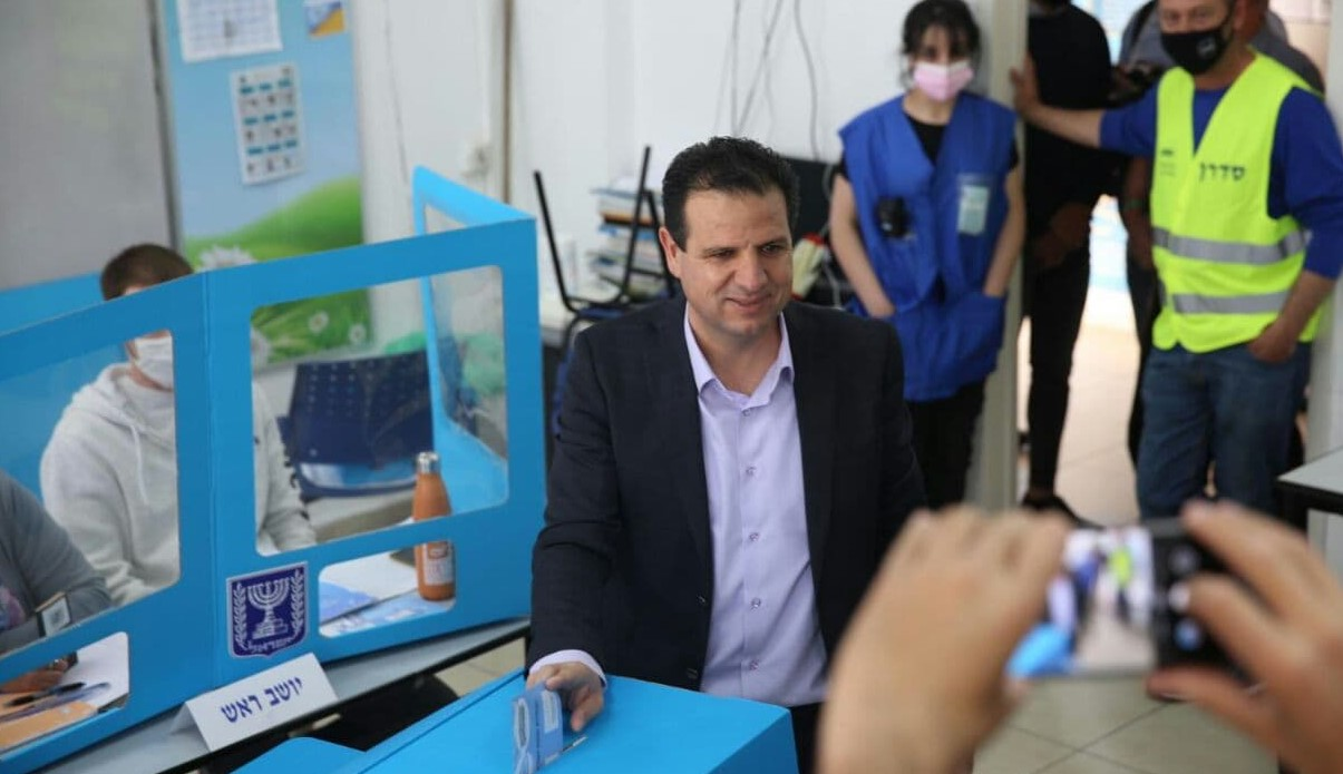 Joint List chair, MK Ayman Odeh, votes at his neighborhood polling station in Haifa on March 23, 2021 in the fourth Israeli election in two years.
