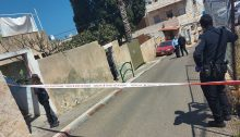 The scene of the shooting death of Munir Anabtawi by police in the predominantly Arab neighborhood of Wadi Nisnas in Haifa, March 29, 2021