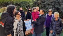 MK Ayman Odeh met with protesters outside his Haifa home, Friday, April 2, 2021.