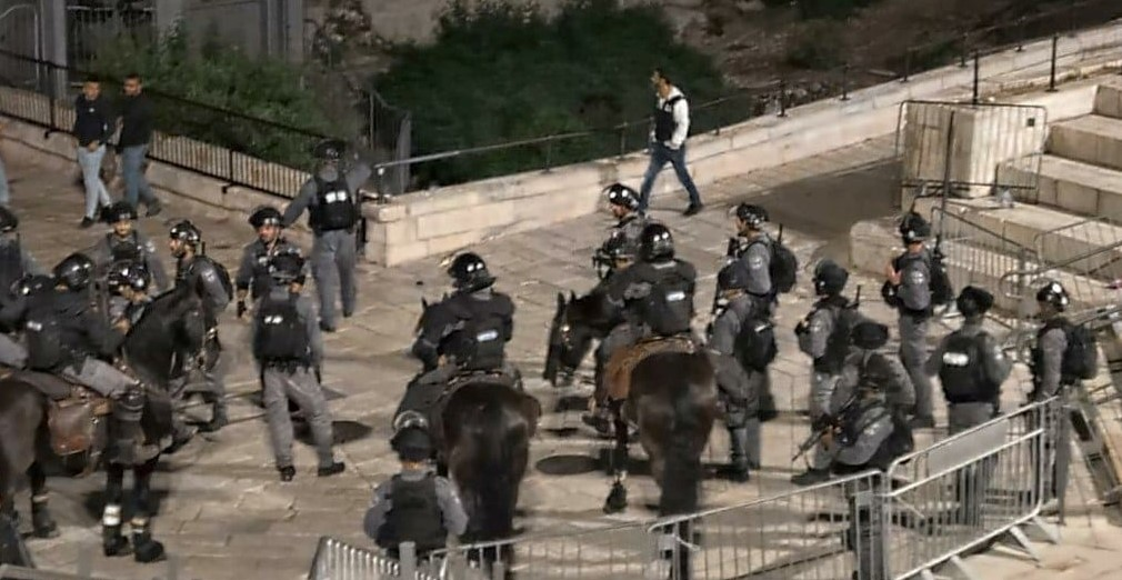 Israeli occupation police near the Damascus Gate of the Old City of occupied East Jerusalem, Thursday night, April 22, 2021.