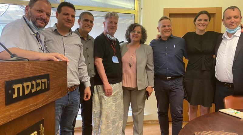 Hadash, Labor and Meretz lawmarkers meet in solidarity with Prof. Oded Goldreich at the Knesset in Jerusalem, April 19, 2021.