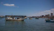 Palestinian fishing boats off the coast of Gaza