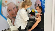 Israel Medical Association president, Prof. Zion Hagay receives a COVID-19 vaccination.