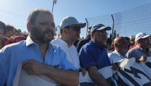 Three Joint List lawmakers participate in the Friday, May 7, demonstration in the Palestinian neighborhood of Sheikh Jarrah in occupied East Jerusalem. First from left to right they are MK Ofer Cassif (Hadash), Samy Abu Shahadeh (Balad) and Ahmad Tibi (Ta'al).