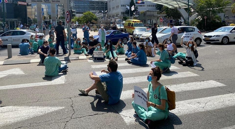 Interns block a street near Ichilov Hospital in central Tel Aviv during a previous strike held in June 2020.