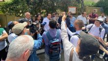 Joint List MKs hold a press conference in Sheikh Jarrah, Monday, May 10, 2021.