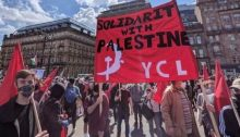 Young Communists in Britain demonstrate in solidarity with Palestine.