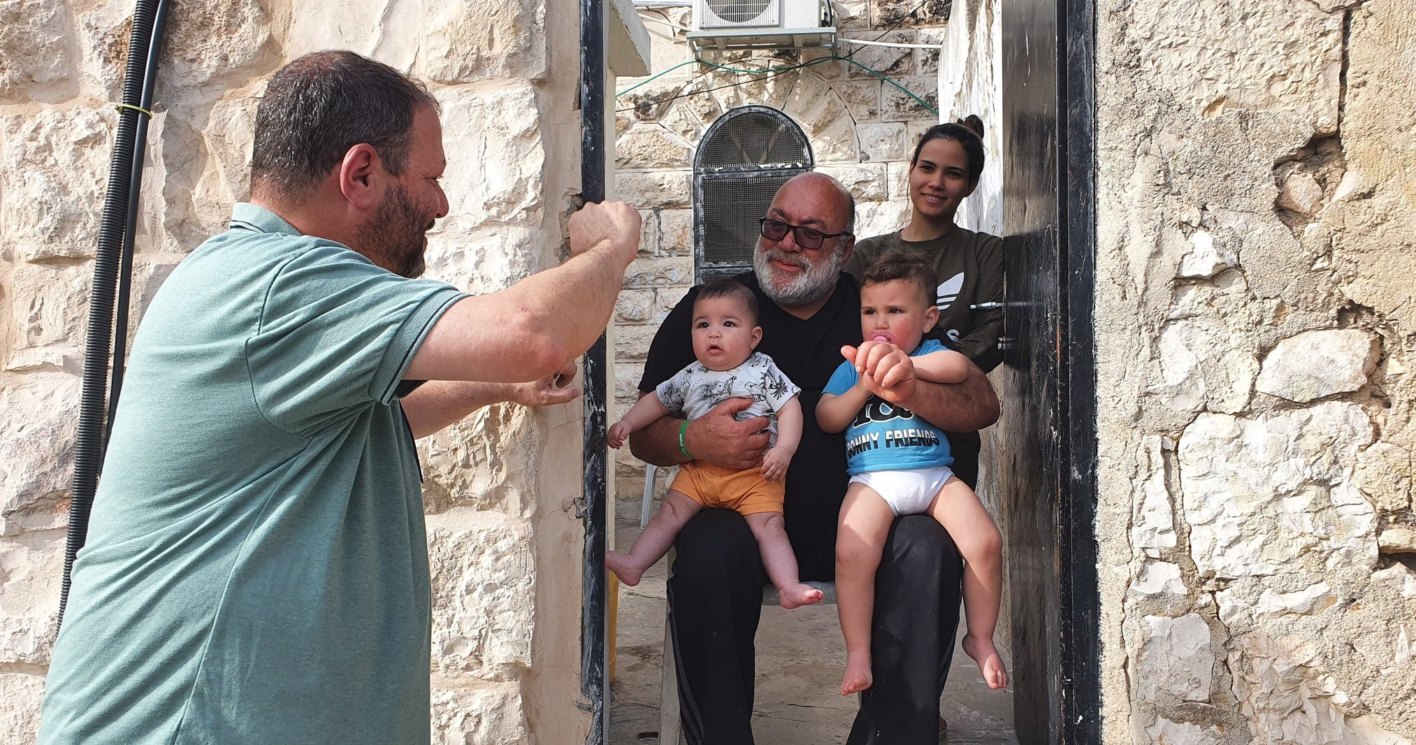 MK Ofer Cassif visiting families in the Palestinian neighborhood of Sheikh Jarrah in occupied East Jerusalem, April 23, 2021