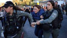 Israeli police detain Al-Jazeera reporter Givara Budeiri while she was covering the Sheikh Jarrah protests in occupied East Jerusalem, Saturday, June 5, 2021.