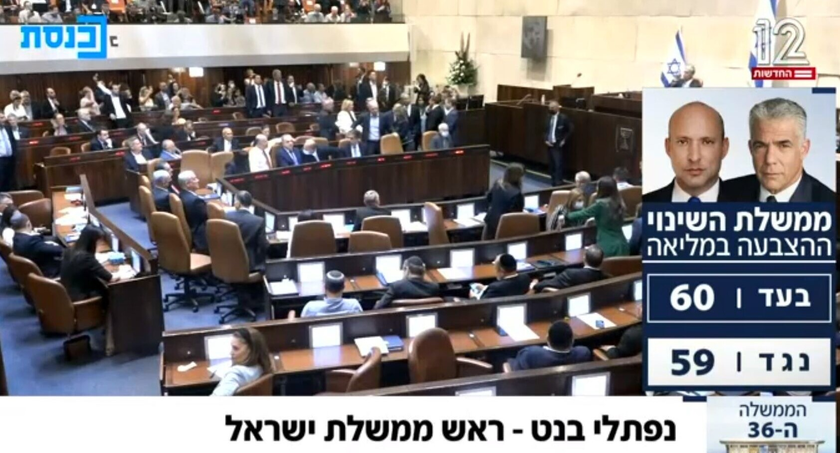 """The results for the vote for the new Bennett-Lapid """"change"""" government in the Knesset 60 in favor, 59 against, making Naftali Bennett Israel's Prime Minister,"""" Sunday night, June 13, 2021"""