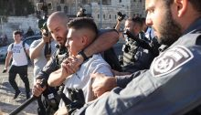 """Israeli occupation forces suppress a demonstration in East Jerusalem last Friday, June 19, in which Palestinians protested settlers' being permitted to chant and incite against Palestine and the Prophet Mohammed during Israel's jingoistic """"Flag March"""" three days earlier."""