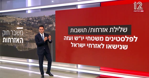 """The coalition meeting on the racist """"family reunification law"""" ended with no breakthrough, Channel 12 reported on Monday night. The slide to the right reads: """"Denial of citizenship / permanent residence for Palestinians from the Judea, Samaria and Gaza (occupied territories) who are married to citizens of Israel."""