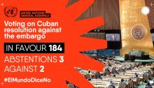 """The results of Wednesday's vote in the UNGA; the hashtag campaign reads in Spanish, """"#TheWorldSaysNo."""""""