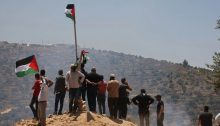 Demonstrators from Beita hold their daily protest rally against the construction of Evyatar from atop Jabal Sabih, June 5, 2021.