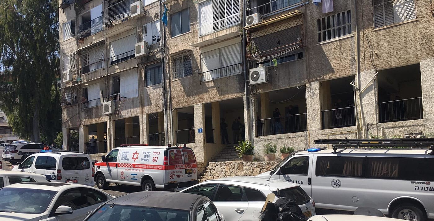 The scene of the murder of Maysar Othman, 28, who was shot in the head in front of two of her children in the Khalisa neighborhood of Haifa, Wednesday, June 30, 2021