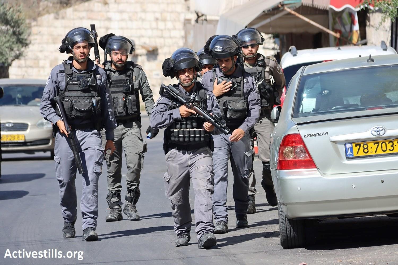 An Israeli Border Police unit Occupation cops patrols in Silwan in , occupied East Jerusalem, July 2, 2021.