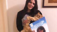 The late Suha Jarrar with a picture of her mother, Palestinian political prisoner Khalida Jarrar