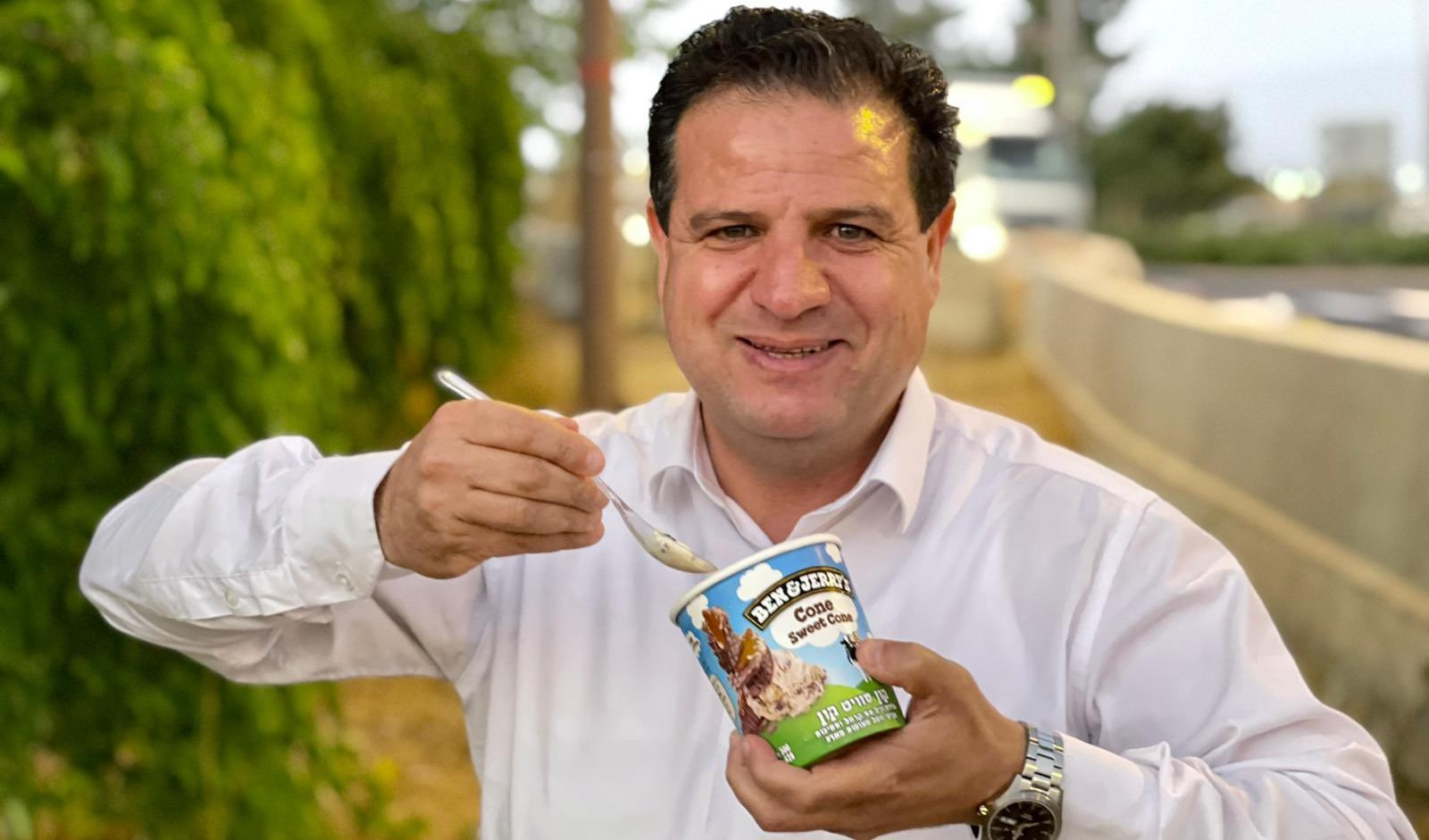 """Hadash MK Ayman Odeh, leader of the Joint List, tweeted this photograph of himself eating a tub of Ben & Jerry's """"Cone Sweet Cone"""" ice cream, Tuesday, July 13."""