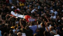 The mass funeral of 38-year-old Palestinian Imad Dweikat, a father of five from the village of Beita, Saturday, August 7, 2021