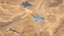 """IAF and AFCENT F-15 and F-16 jets fly over southern Israel during the """"Desert Eagle"""" drill, August 10, 2021."""