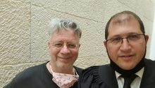 Prof. Oded Goldreich (left) and Atty. Michael Sfard at the High Court of Justice in Jerusalem
