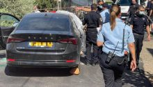 The scene of the crime in which Saher Ismail, 50, was shot dead Sunday morning while sitting in his car outside his home in the northern town of Rameh, August 15, 2021.