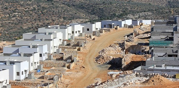 Settler housing project erected on the illegally appropriated lands of the Palestinian village of Ad-Dik in the occupied West Bank