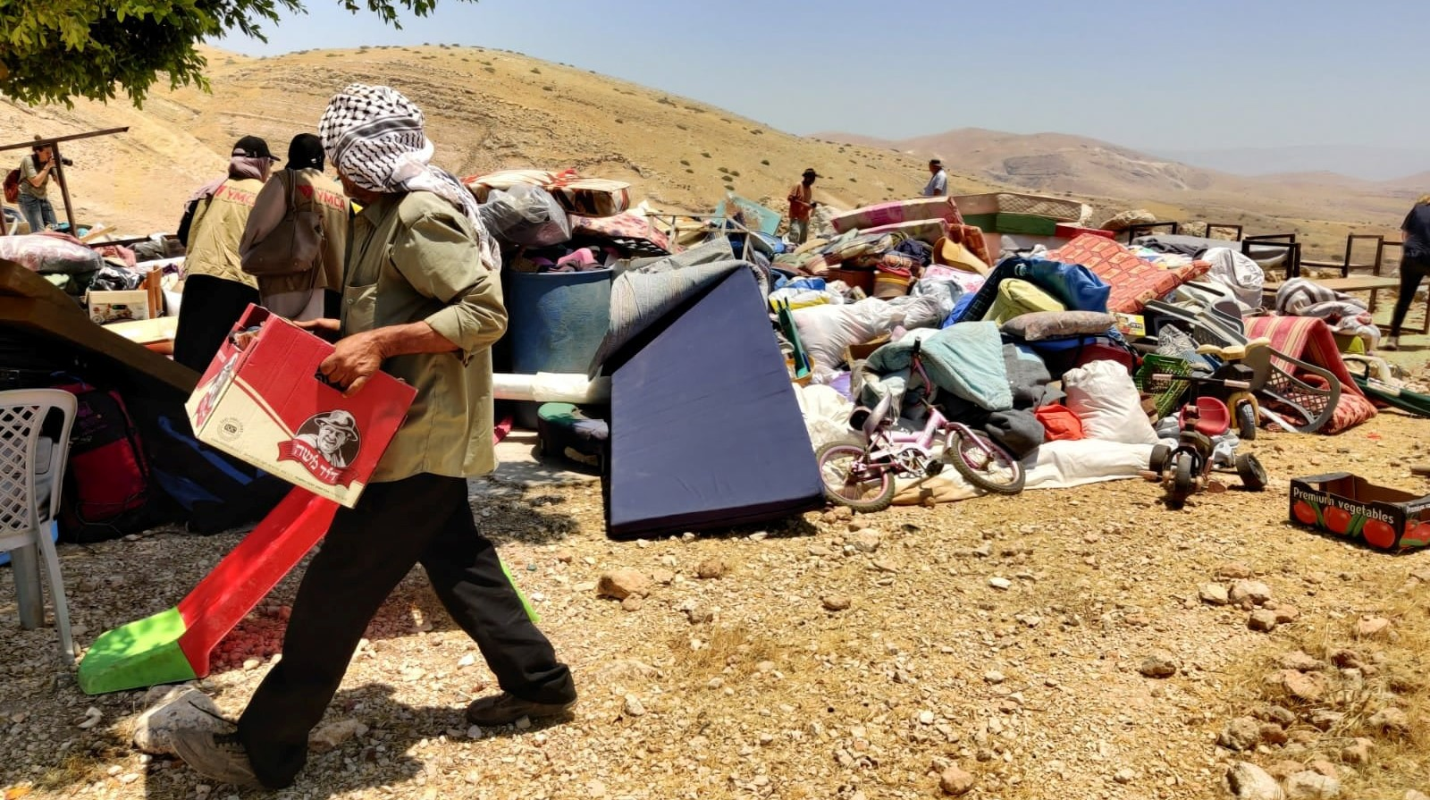 Remains of Khirbet Humsa in the occupied northern Jordan Valley following Israel's demolition of the hamlet on July 8, 2021