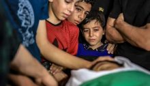 Saturday evening, August 28, 2021: Relatives mourn over the body of 13-year-old Omar Abu Nil, who had just died of wounds sustained from Israeli army gunfire in Gaza a week earlier.