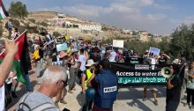 Israelis and Palestinians marched together in the occupied West Bank on Saturday, October 2, to demand access to adequate potable water for the villagers of Al-Mufqara.