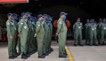 Indian airmen stand at attention at the Israeli Air Forces' Ovda air base, ahead of the Blue Flag exercise set to begin this week.